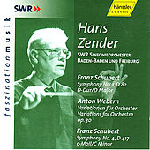 Play & Download Anton Webern: Variations for Orchestra op. 30 & Franz Schubert: Symphonies No. 1 & 4 by Hans Zender | Napster