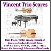Vincent Trio Scores, Bass-Piano-Violin Arrangements Of: Sarasate, Schubert, Respighi, Ravel, Brahms, Bizet, Kalman, Liszt, Strauss, Mozart, Rachmaninoff, Schumanns & Tchaikovsky by Teo Barry Vincent