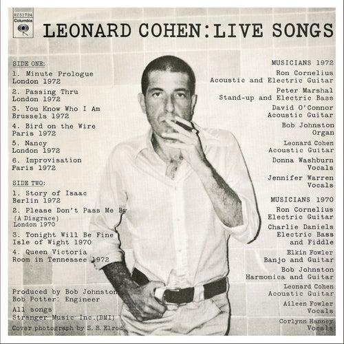 Live Songs by Leonard Cohen