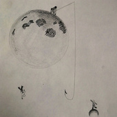 Fisherman on the moon by Sad