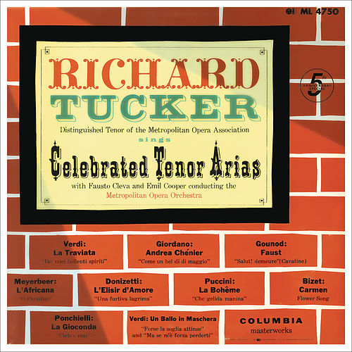 Richard Tucker - Celebrated Tenor Arias by Richard Tucker