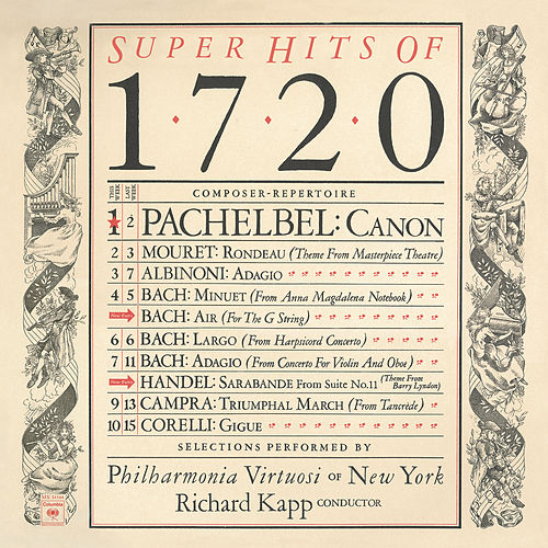 Super Hits of 1720 by Philharmonia Virtuosi of New York; Richard Kapp