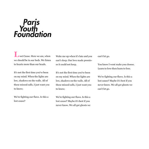 Lost Cause by Paris Youth Foundation