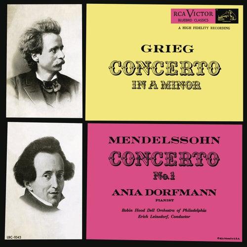 Grieg: Piano Concerto in A Minor, Op. 16 - Mendelssohn: Piano Concerto No. 1, Op. 25 by Erich Leinsdorf