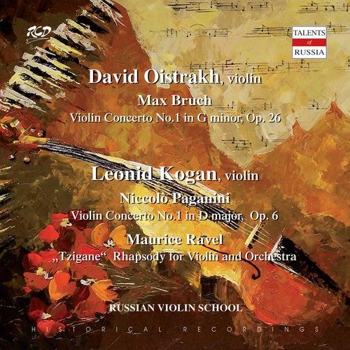 DAVID  OISTRAKH, violin: M. Bruch: Violin Concerto No.1 in G minor, Op. 26 / LEONID  KOGAN, violin: Paganini: Violin Concerto No.1 in D major,  Op. 6 and M. Ravel: 'Tzigane'  Rhapsody for Violin and Orchestra by David Oistrakh
